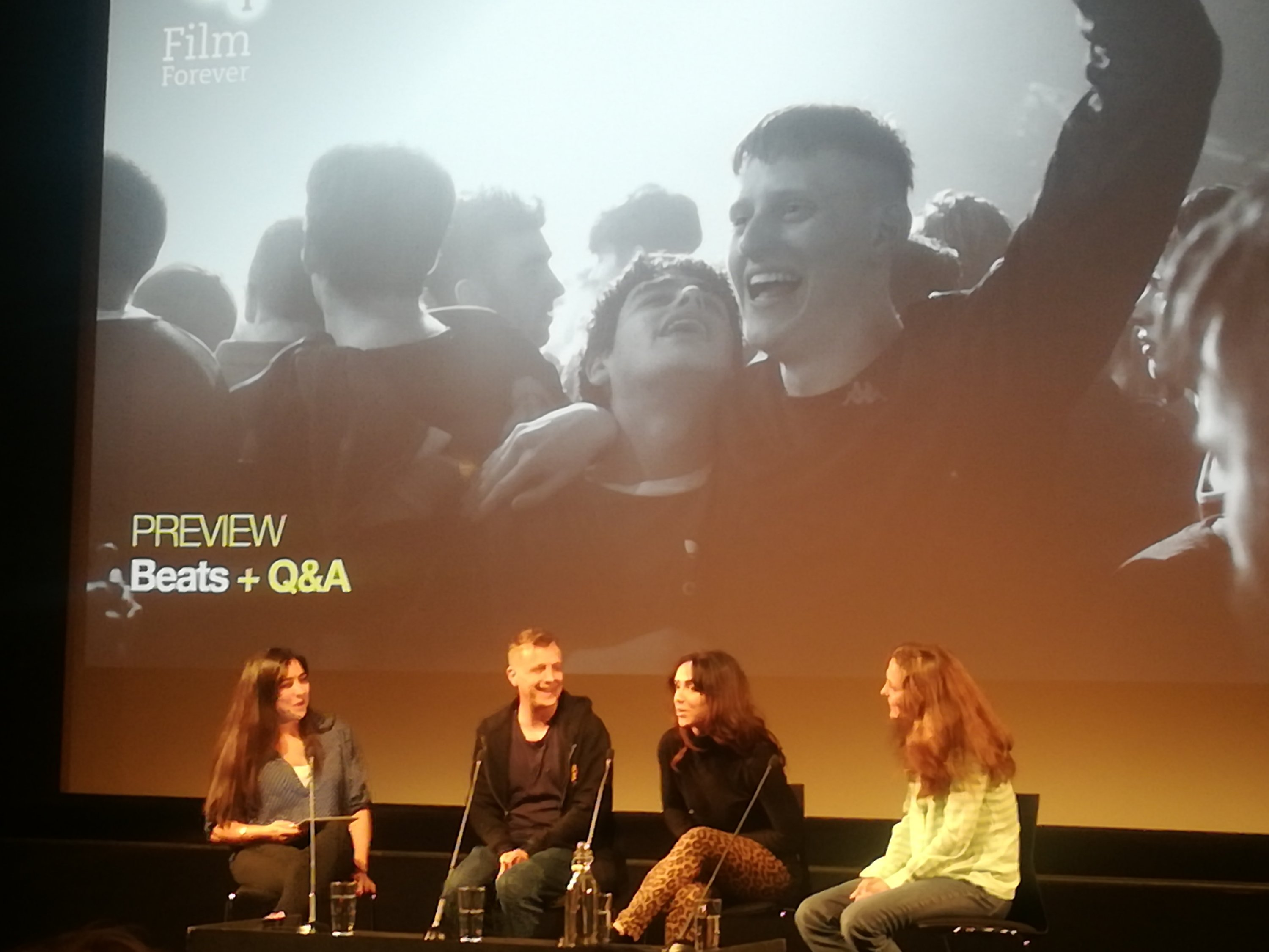 Co-writer and director, Brian Welsh, Amy Manson, who plays Cat (leopard skin jeans) and producer, Camilla Bray, at the BFI preview of Beats - Monday, 13th May 2019